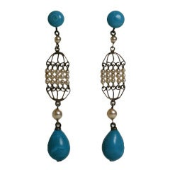 Rousselet Turquoise and Pearl Long Earrings