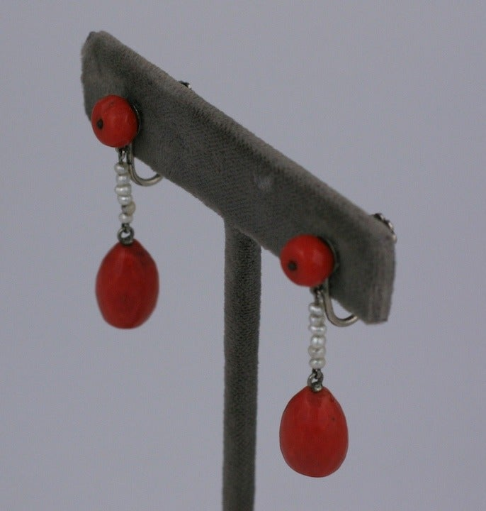 Art Deco Coral Earrings 2