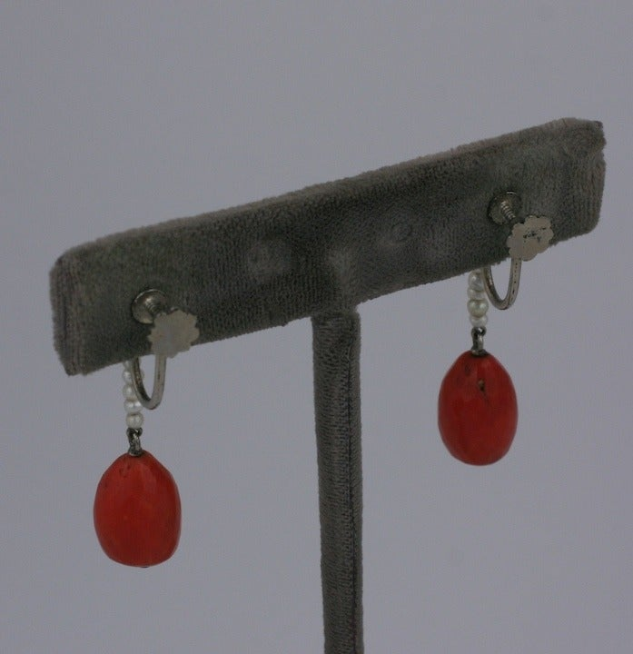 Art Deco Coral Earrings 3