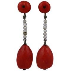Art Deco Coral Earrings