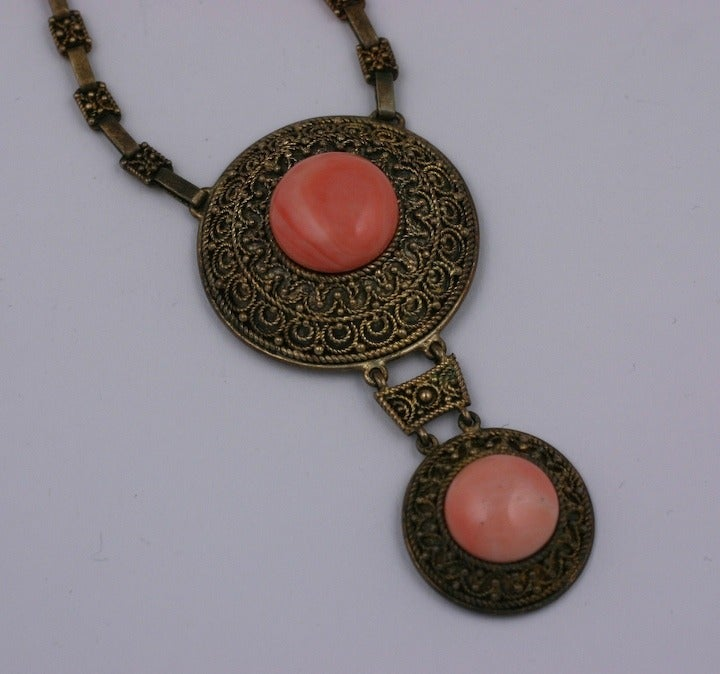 Etruscan Coral Cab Necklace In Excellent Condition For Sale In Riverdale, NY