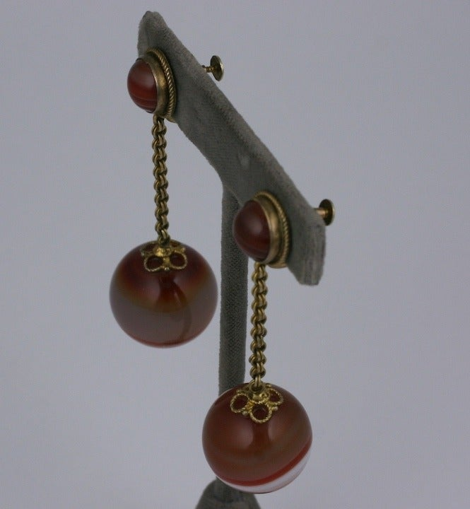 Victorian Scottish Agate Drop Earrings In Excellent Condition For Sale In Riverdale, NY