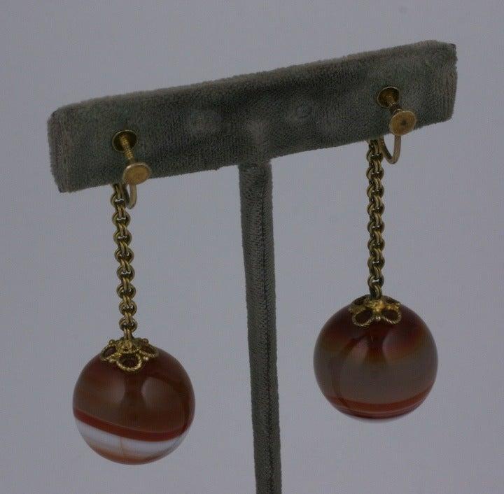 Women's Victorian Scottish Agate Drop Earrings For Sale