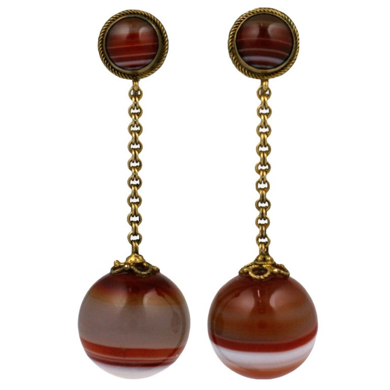 Victorian Scottish Agate Drop Earrings For Sale