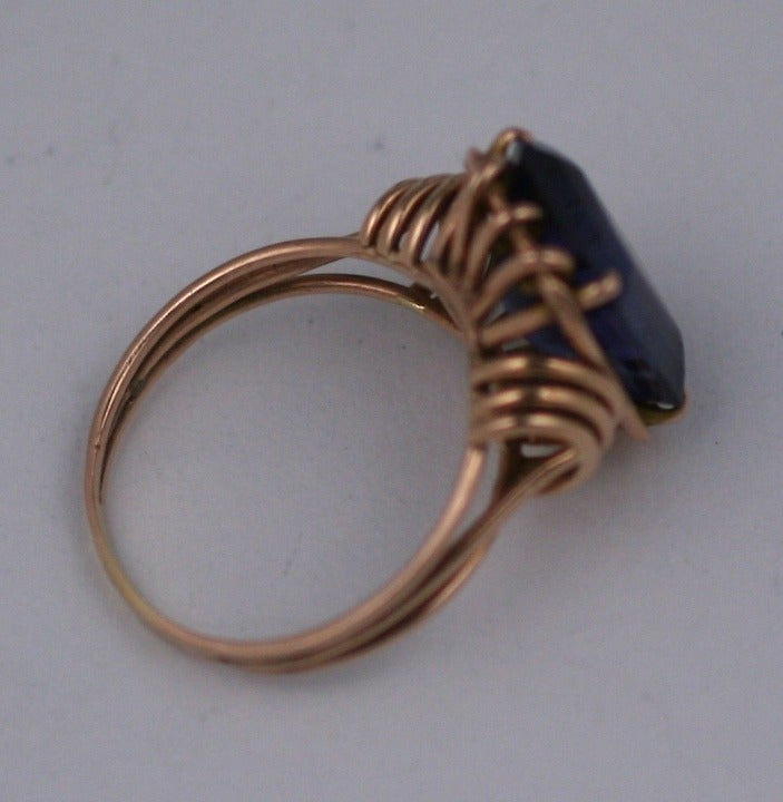 Retro Pink Gold and Amethyst Ring In Excellent Condition For Sale In Riverdale, NY