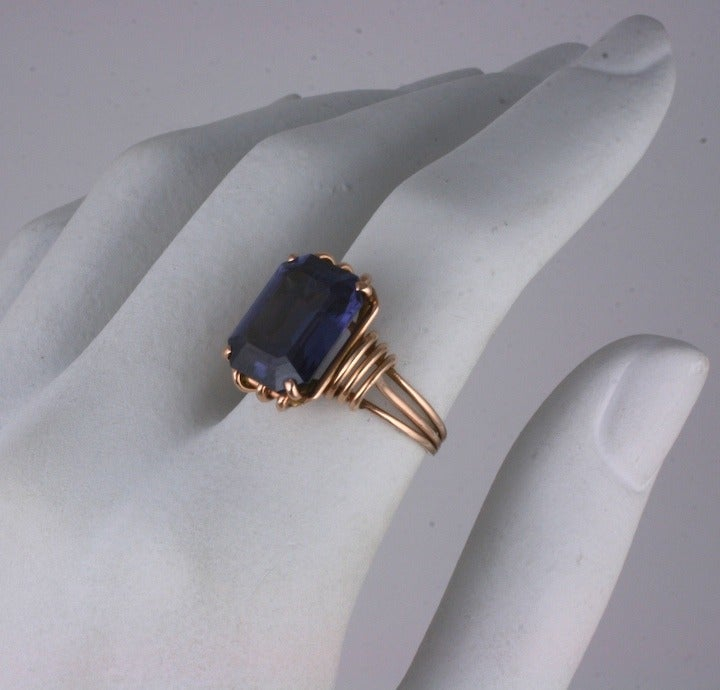 Women's Retro Pink Gold and Amethyst Ring For Sale