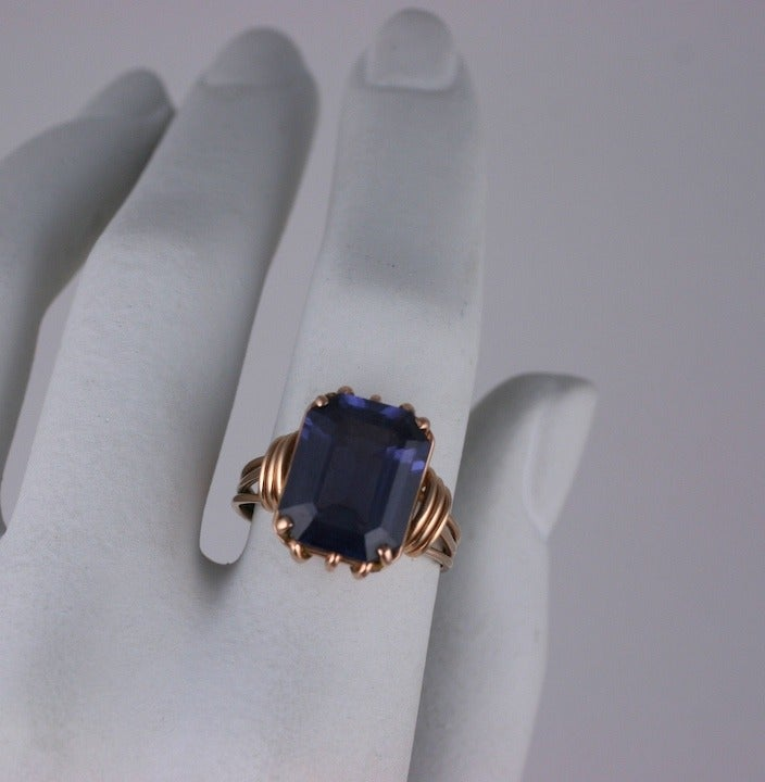 Retro Pink Gold and Amethyst Ring For Sale 1