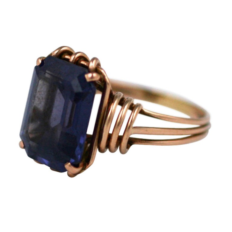 Retro Pink Gold and Amethyst Ring For Sale