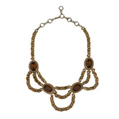 Schiaparelli Citrine Studded Swag Chain Necklace