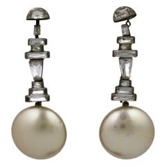 Deco Step Baguette Paste and Pearl Earrings
