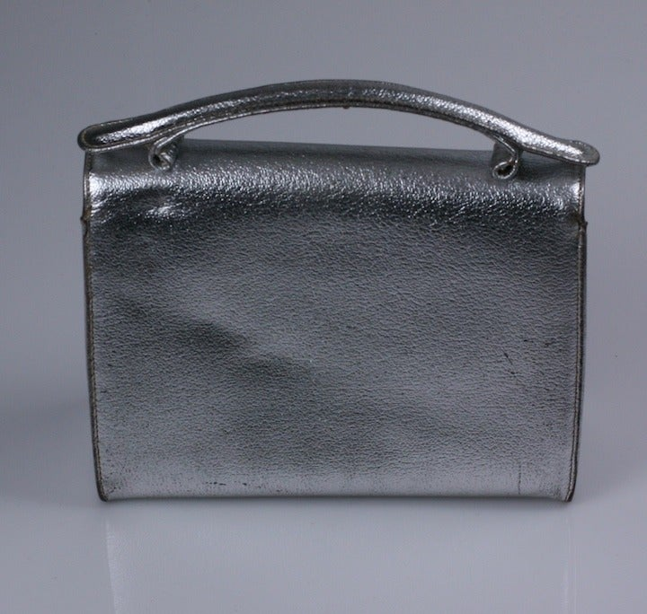 f8691fcae90b73 Silver Leather Bumble Bee Evening Bag In Excellent Condition For Sale In  Riverdale, NY