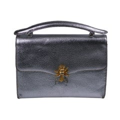Silver Leather Bumble Bee Evening Bag