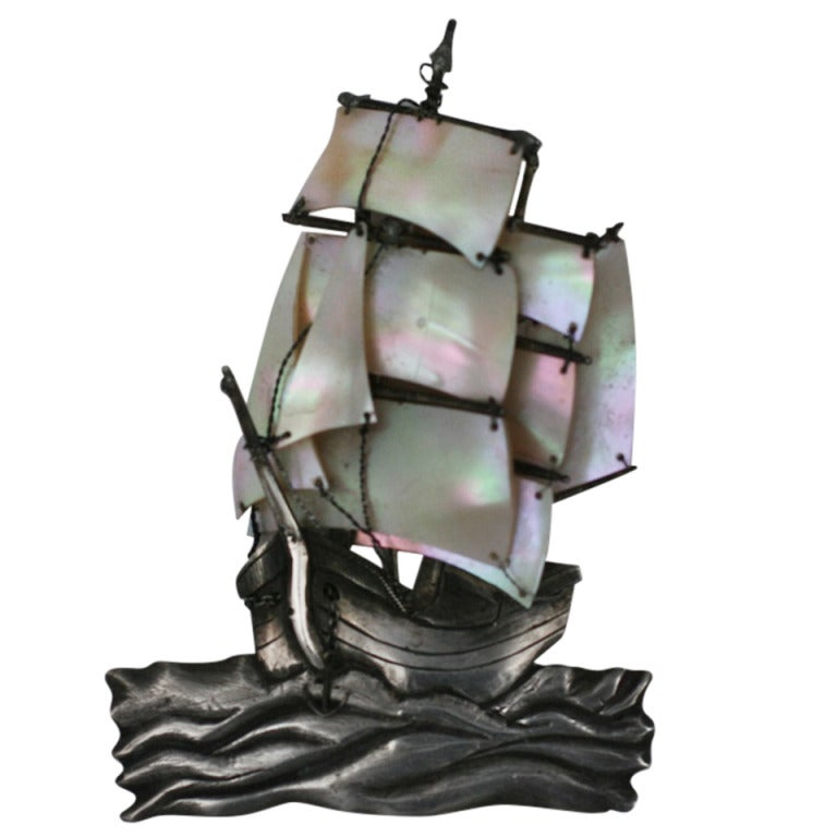 Unusual French Galleon Brooch 1