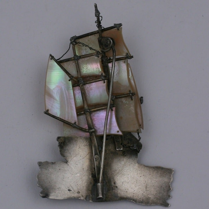 Unusual French Galleon Brooch 3