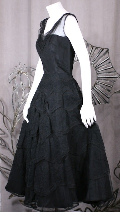 Black Glamorous Wavy Lace Ruffle Dress For Sale