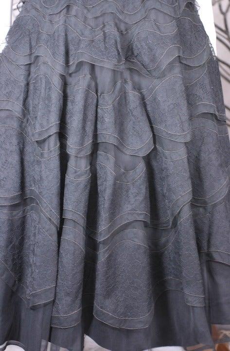Glamorous Wavy Lace Ruffle Dress For Sale 1
