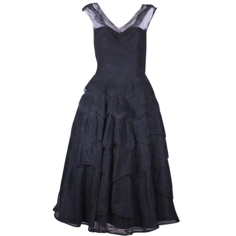 Glamorous Wavy Lace Ruffle Dress For Sale