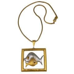 Pierre Cardin Modernist Fish Pendant