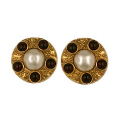 Chanel Faux Pearl and Pate de Verre Earrings
