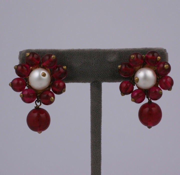 Chanel Maison Gripoix  Pearl and Ruby Earclips 1930s 2