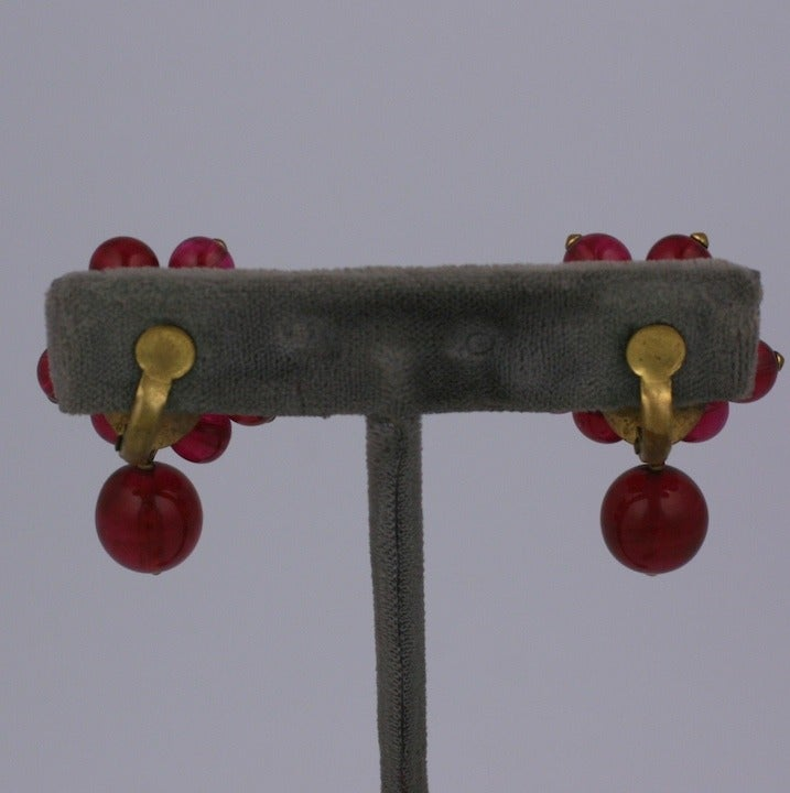 Chanel Maison Gripoix  Pearl and Ruby Earclips 1930s 3