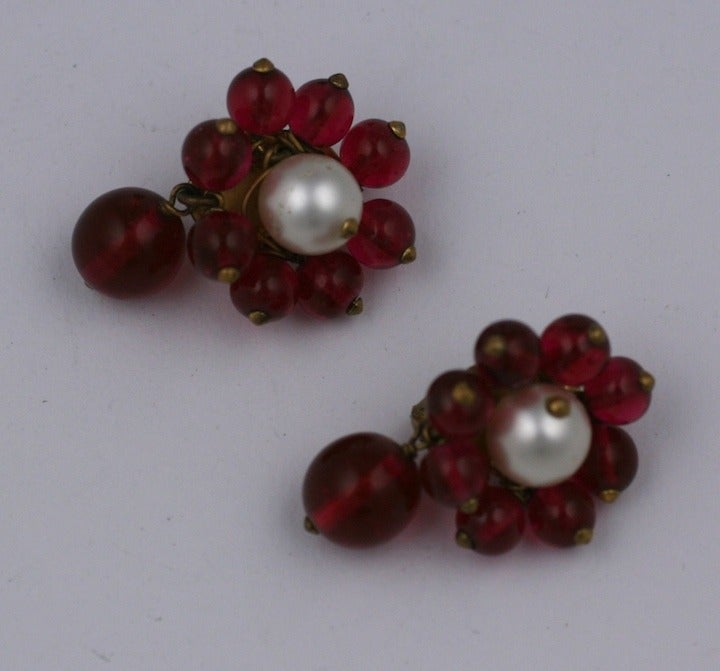 Chanel Maison Gripoix  Pearl and Ruby Earclips 1930s 4
