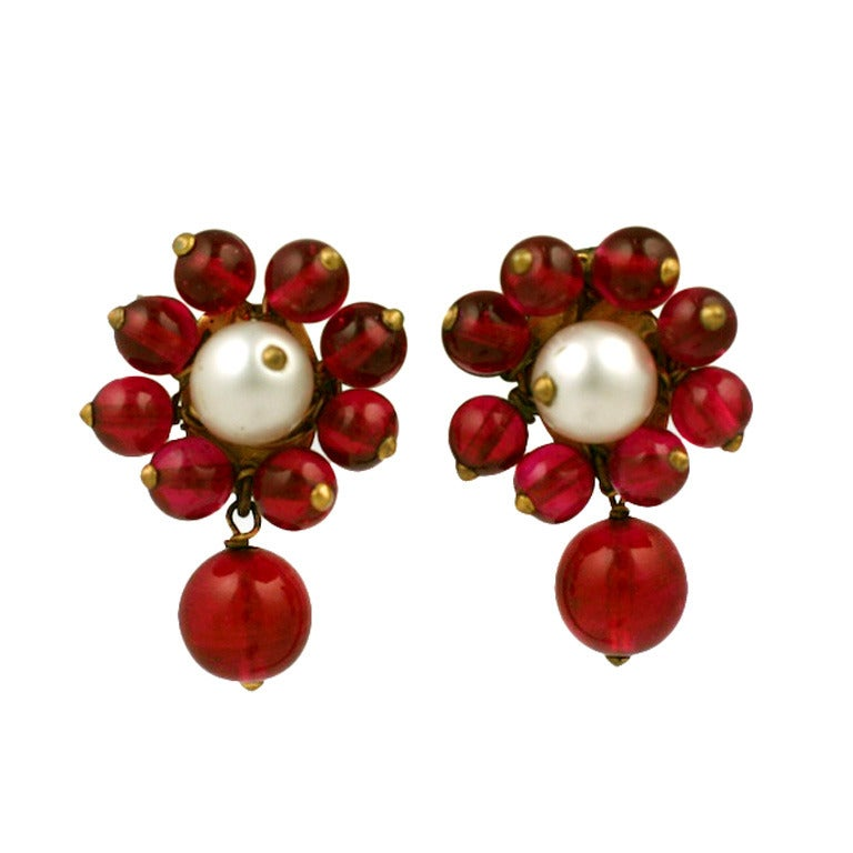 Chanel Maison Gripoix  Pearl and Ruby Earclips 1930s 1