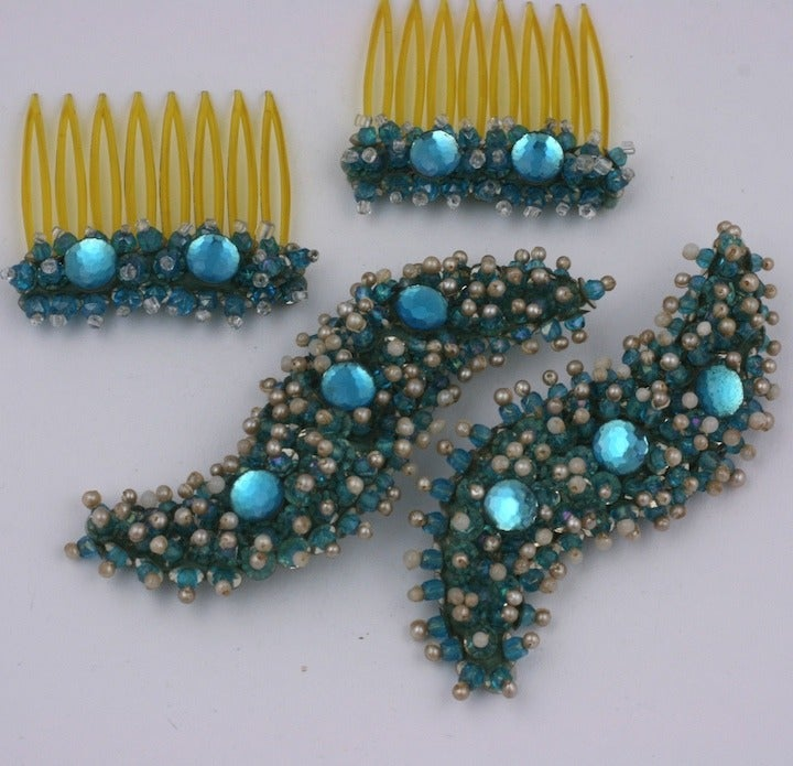 French Embroidered Combs and Brooches In Excellent Condition For Sale In Riverdale, NY
