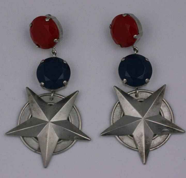 """Nautical inspired over sized earrings with huge matte stones in lipstick red and cobalt blue with star embellished drops. Clip back fittings. Very Mugler or Montana in feeling. 1980s USA. 3.5"""" x 2"""". Excellent condition."""