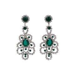 Hattie Carnegie Emerald Chandelier Earrings