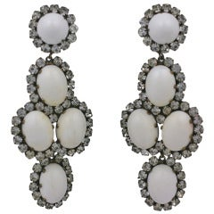 Kenneth Jay Lane Paste and Milk Cab Earrings