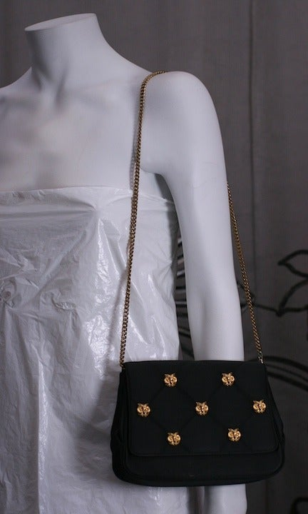 Quilted satin bag with gilt owl heads retailed by Henri Betrix, Madison Ave, N.Y. 1970's USA. Excellent condition. 7.5