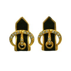 French Art Deco Suede Buckle Earrings