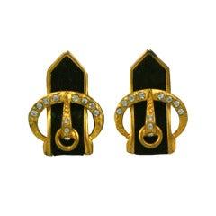 French Art Deco Suede Buckle Earrings