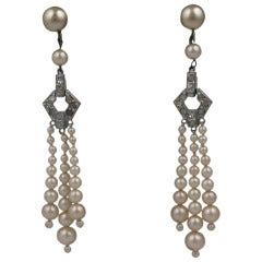 Pearl Tassel Art Deco Earrings