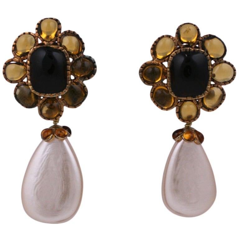 Chanel Citrine Pate de Verre Earrings 1