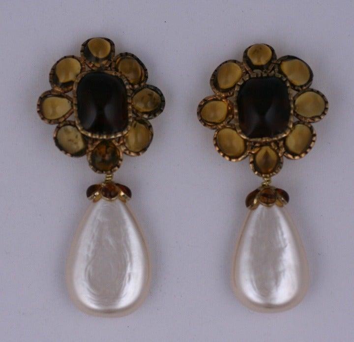 Chanel Citrine Pate de Verre Earrings 2