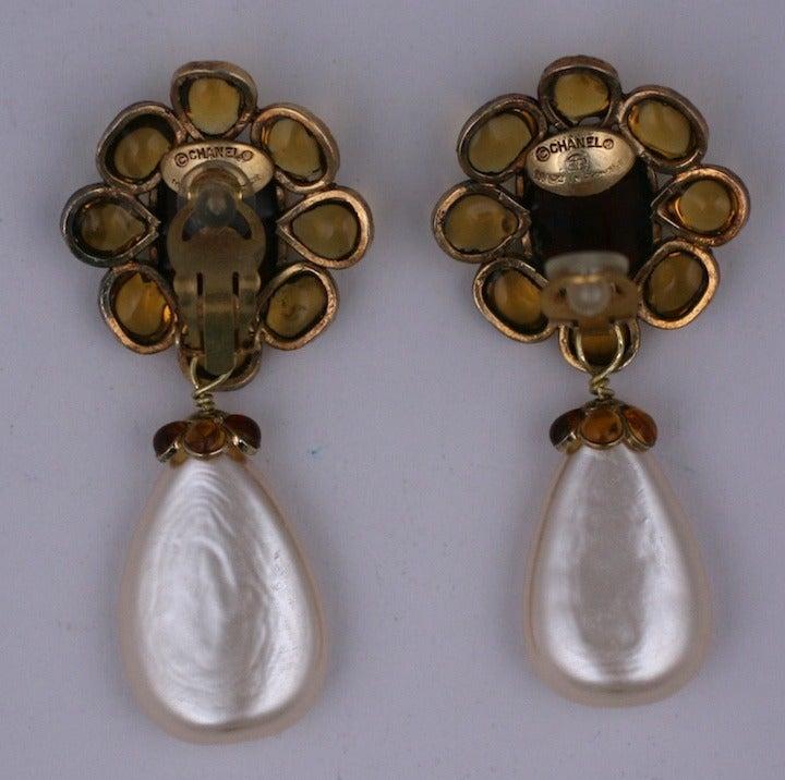 Chanel Citrine Pate de Verre Earrings 3