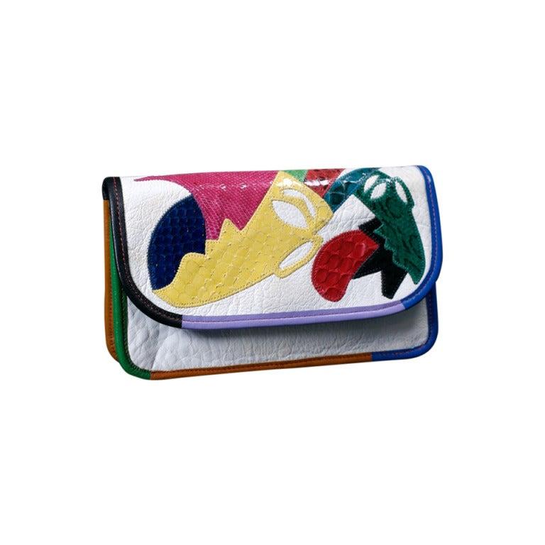 Carlos Falchi Colorful Clutch For Sale