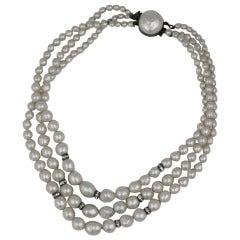 Rousellet Pate de Verre Pearl and Rondelle Necklace