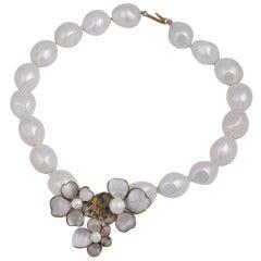 Chanel Maison Gripoix Poured Glass Flower Necklace