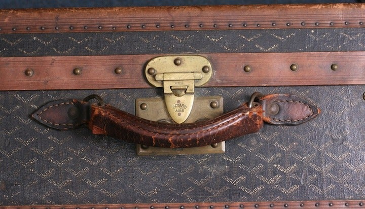 Gray Early Maison Goyard Suitcase For Sale
