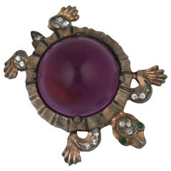 Trifari Rare Purple Jelly Belly Turtle Brooch