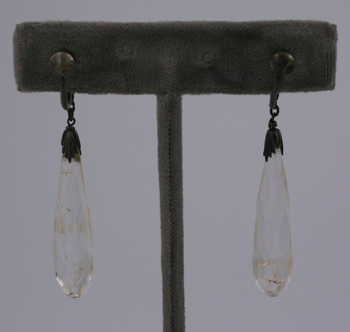 Art Deco Rock Crystal Faceted Drop Earrings 2