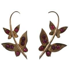 Silver Gilt Ruby Butterfly Earrings