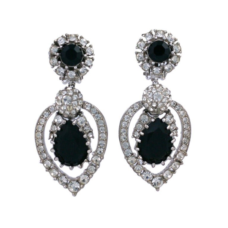 Ciner Diamonte and Jet Earrings For Sale
