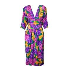 Louis Feraud Silk Crepe Floral Dress