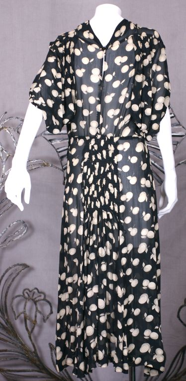 Black Deco Shadow Print Chiffon Cherries Dress For Sale