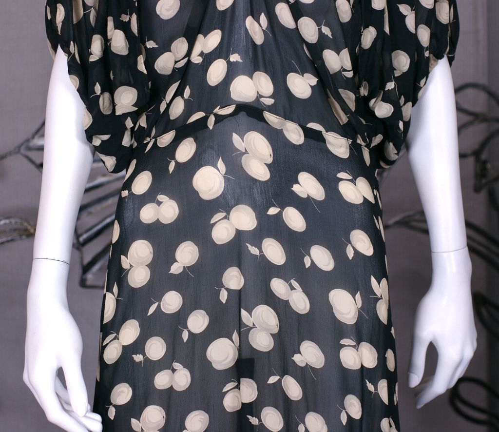 Deco Shadow Print Chiffon Cherries Dress In Excellent Condition For Sale In Riverdale, NY