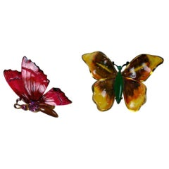 Pair Robert Enamel and Stone set  Butterfly Brooches